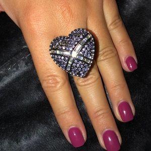 Betsey Johnson purple rhinestone locket ring